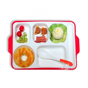 密胺瓷餐盘 仿瓷老人餐盘 分格快餐盘 仿瓷碟 五格长方形盘子 饭盘